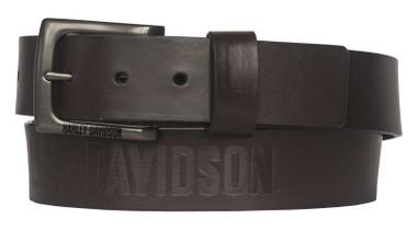 Harley-Davidson Men's Vintage Race Genuine Brown Leather Belt - Antique Nickel - Wisconsin Harley-Davidson