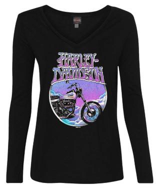 Harley-Davidson Women's Retro Bike Long Sleeve Deep V-Neck Shirt - Black - Wisconsin Harley-Davidson