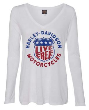 Harley-Davidson Women's Distressed Live Free Long Sleeve V-Neck Shirt - White - Wisconsin Harley-Davidson