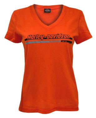 Harley-Davidson Women's Iron Chain Short Sleeve V-Neck Tee - Bright Orange - Wisconsin Harley-Davidson