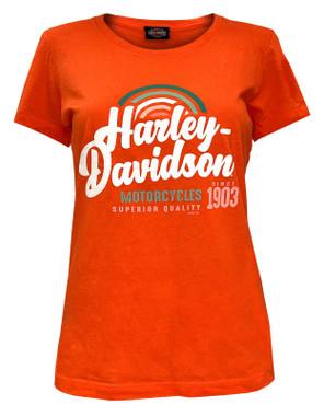 Harley-Davidson Women's H-D Rainbow Short Sleeve Crew-Neck Tee - Bright Orange - Wisconsin Harley-Davidson