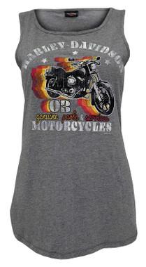 Harley-Davidson Women's Risky Voyage Sleeveless Scoop Neck Tank Top - Gray - Wisconsin Harley-Davidson