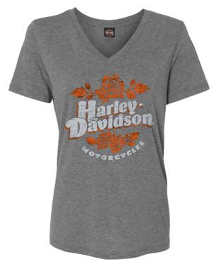 Harley-Davidson Women's Script & Roses V-Neck Tri-Blend Short Sleeve Tee - Gray - Wisconsin Harley-Davidson