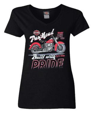 Harley-Davidson Women's Pan Head Pride Short Sleeve V-Neck Cotton Tee - Black - Wisconsin Harley-Davidson
