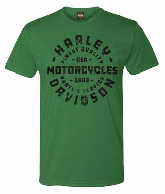 Harley-Davidson Men's H-D Text Short Sleeve Crew-Neck T-Shirt - Heathered Green - Wisconsin Harley-Davidson