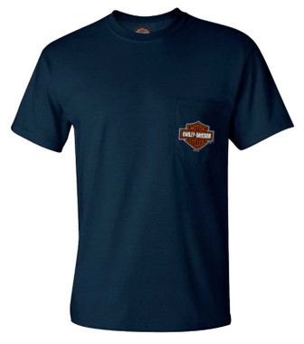 Harley-Davidson Men's Bar & Shield Logo Chest Pocket Crew-Neck T-Shirt, Blue - Wisconsin Harley-Davidson