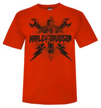 Harley-Davidson Men's Eternal Fury Short Sleeve Crew-Neck Graphic Tee - Orange - Wisconsin Harley-Davidson