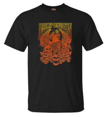Harley-Davidson Men's Skull & Eagle Crew-Neck Short Sleeve Graphic Tee - Black - Wisconsin Harley-Davidson