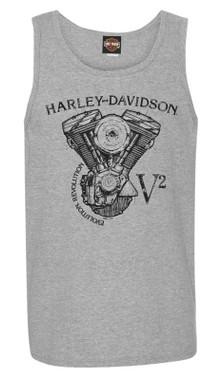 Harley-Davidson Men's Raging V-Twin Sleeveless Crew-Neck Muscle Tank, Steel Gray - Wisconsin Harley-Davidson