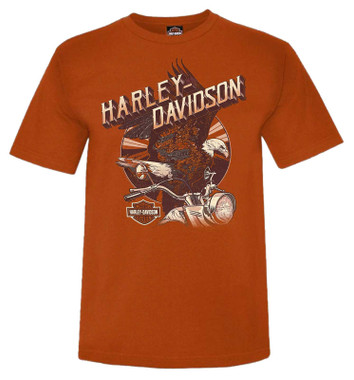 Harley-Davidson Men's Assembled Victory Short Sleeve Crew-Neck T-Shirt - Orange - Wisconsin Harley-Davidson