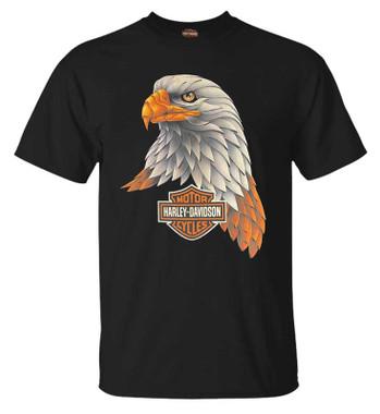 Harley-Davidson Men's B&S Eagle Short Sleeve Crew-Neck Graphic T-Shirt - Black - Wisconsin Harley-Davidson