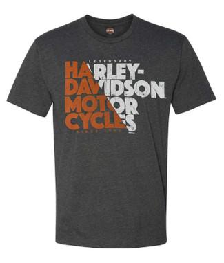 Harley-Davidson Men's Kicking Wheels Short Sleeve Crew-Neck Graphic Tee - Gray - Wisconsin Harley-Davidson