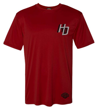 Harley-Davidson Men's Chrome H-D Short Sleeve Crew-Neck Polyester Tee - Red - Wisconsin Harley-Davidson
