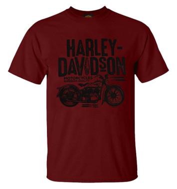 Harley-Davidson Men's Retro Cruiser Crew-Neck Short Sleeve T-Shirt - Dark Red - Wisconsin Harley-Davidson