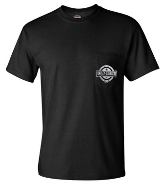 Harley-Davidson Men's Demo Chopper Chest Pocket Short Sleeve T-Shirt, Black - Wisconsin Harley-Davidson