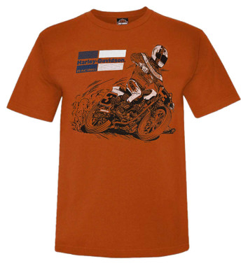 Harley-Davidson Men's Racing Fury Short Sleeve Crew-Neck Graphic Tee - Orange - Wisconsin Harley-Davidson
