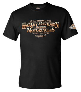 Harley-Davidson Men's Forged Legend Crew-Neck Short Sleeve Graphic Tee - Black - Wisconsin Harley-Davidson