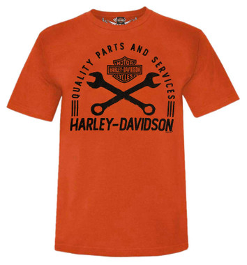 Harley-Davidson Men's Chopper Road Short Sleeve Crew-Neck Graphic Tee - Orange - Wisconsin Harley-Davidson