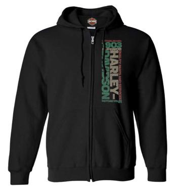 Harley-Davidson Men's Racing Street Full-Zip Fleece Hooded Sweatshirt - Black - Wisconsin Harley-Davidson