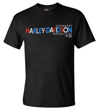 Harley-Davidson Men's H-D RWB Crew-Neck Short Sleeve Graphic T-Shirt - Black - Wisconsin Harley-Davidson