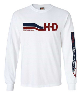 Harley-Davidson Men's H-D Curves Long Sleeve Crew-Neck Graphic Shirt - White - Wisconsin Harley-Davidson