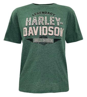 Harley-Davidson Men's Eternal Engine Short Sleeve Crew-Neck Graphic Tee - Green - Wisconsin Harley-Davidson