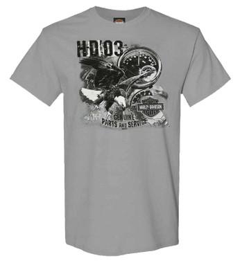 Harley-Davidson Men's Windy Trail Short Sleeve Crew-Neck Graphic T-Shirt, Gray - Wisconsin Harley-Davidson