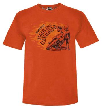 Harley-Davidson Men's Forever Geared Short Sleeve Crew-Neck T-Shirt - Orange - Wisconsin Harley-Davidson