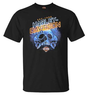 Harley-Davidson Men's Power Skull Short Sleeve Crew-Neck Graphic Tee, Black - Wisconsin Harley-Davidson