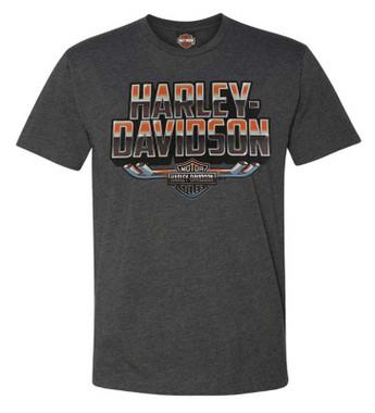 Harley-Davidson Men's Forged Chrome Crew-Neck Short Sleeve T-Shirt - Charcoal - Wisconsin Harley-Davidson