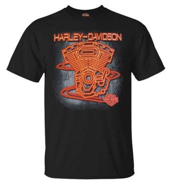 Harley-Davidson Men's Neon Engines Short Sleeve Crew-Neck Graphic Tee, Black - Wisconsin Harley-Davidson
