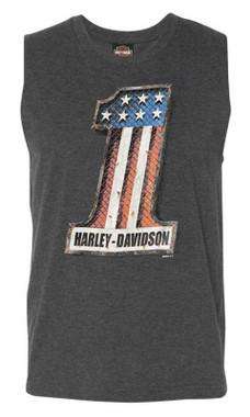Harley-Davidson Men's Mechanical Patriot Sleeveless Crew-Neck Muscle Tank, Gray - Wisconsin Harley-Davidson