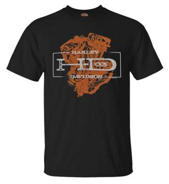Harley-Davidson Men's King of Motors Short Sleeve Crew-Neck Graphic Tee, Black - Wisconsin Harley-Davidson