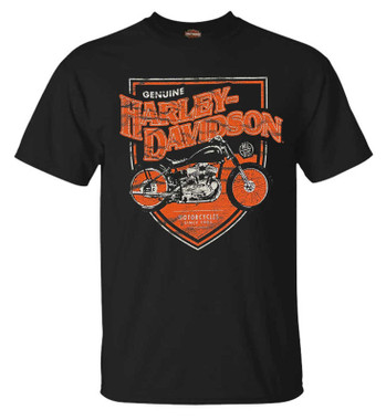 Harley-Davidson Men's Old Fashioned Steel Short Sleeve Crew-Neck Tee, Black - Wisconsin Harley-Davidson