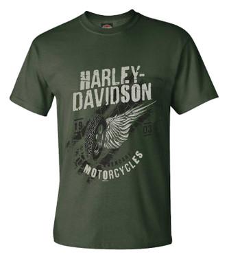 Harley-Davidson Men's Gears to Rubber Chest Pocket Short Sleeve Crew-Neck Tee - Wisconsin Harley-Davidson