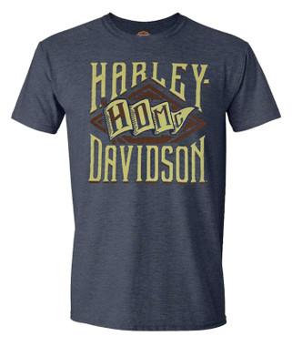 Harley-Davidson Men's Classic Ranks Crew-Neck Short Sleeve Polyester Tee - Navy - Wisconsin Harley-Davidson