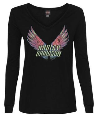 Harley-Davidson Women's Winged H-D Long Sleeve Deep V-Neck Shirt - Black - Wisconsin Harley-Davidson
