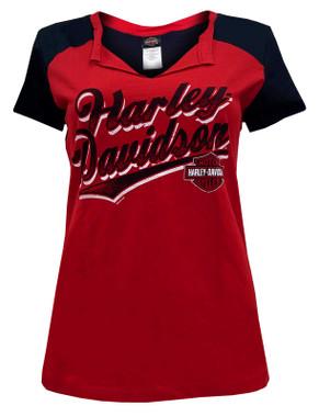 Harley-Davidson Women's H-D Script Folded Notched Colorblocked Tee - Red & Black - Wisconsin Harley-Davidson