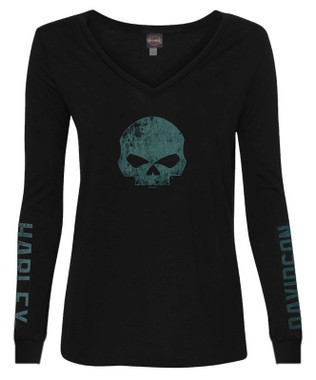 Harley-Davidson Women's Willie G Skull Long Sleeve Deep V-Neck Shirt - Black - Wisconsin Harley-Davidson