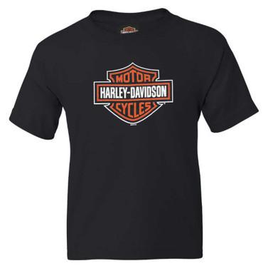 Harley-Davidson Boy's Bar & Shield Logo Short Sleeve Graphic T-Shirt - Black - Wisconsin Harley-Davidson