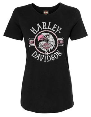 Harley-Davidson Women's Pink Eagle Crew-Neck Short Sleeve Graphic Tee - Black - Wisconsin Harley-Davidson