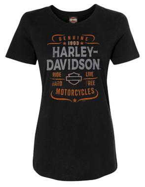 Harley-Davidson Women's Quality Time Short Sleeve Crew-Neck Graphic Tee - Black - Wisconsin Harley-Davidson