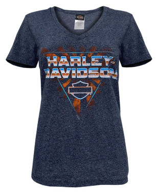Harley-Davidson Women's Blazin' Hot V-Neck Short Sleeve Tee - Striped Navy - Wisconsin Harley-Davidson