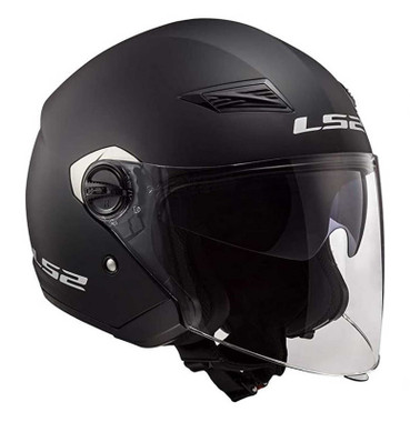 LS2 Helmets Track Open Face Motorcycle Sun-Shield Helmet - Solid Matte Black - Wisconsin Harley-Davidson