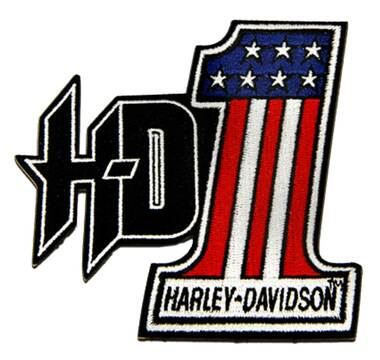 Harley-Davidson 4 in. Embroidered #1 RWB Logo H-D Emblem Sew-On Patch - Black - Wisconsin Harley-Davidson