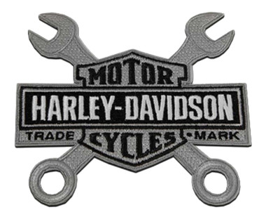 Harley-Davidson 4 in. Embroidered Wrenches Bar & Shield Logo Emblem Sew-On Patch - Wisconsin Harley-Davidson