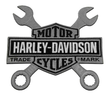 Harley-Davidson 8 in. Embroidered Wrenches Bar & Shield Logo Emblem Sew-On Patch - Wisconsin Harley-Davidson