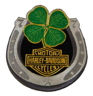 Harley-Davidson 3.4 in. Embroidered Lucky Clover Horseshoe Emblem Sew-On Patch - Wisconsin Harley-Davidson