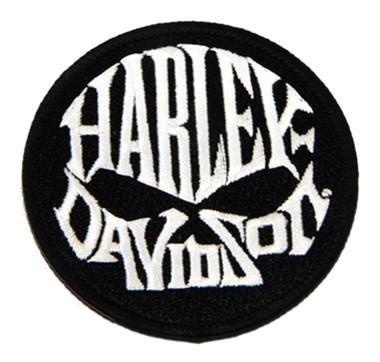 Harley-Davidson 3in. Embroidered Willie G Skull Text Emblem Sew-On Patch - Black - Wisconsin Harley-Davidson