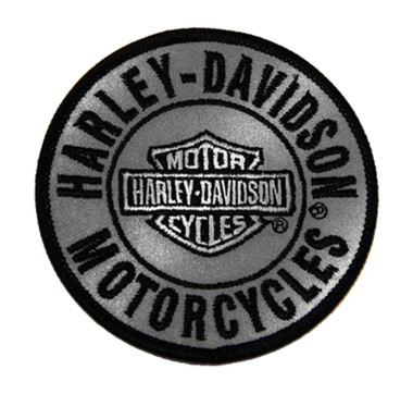 Harley-Davidson 3in. Embroidered Reflective Round B&S Logo Emblem Sew-On Patch - Wisconsin Harley-Davidson